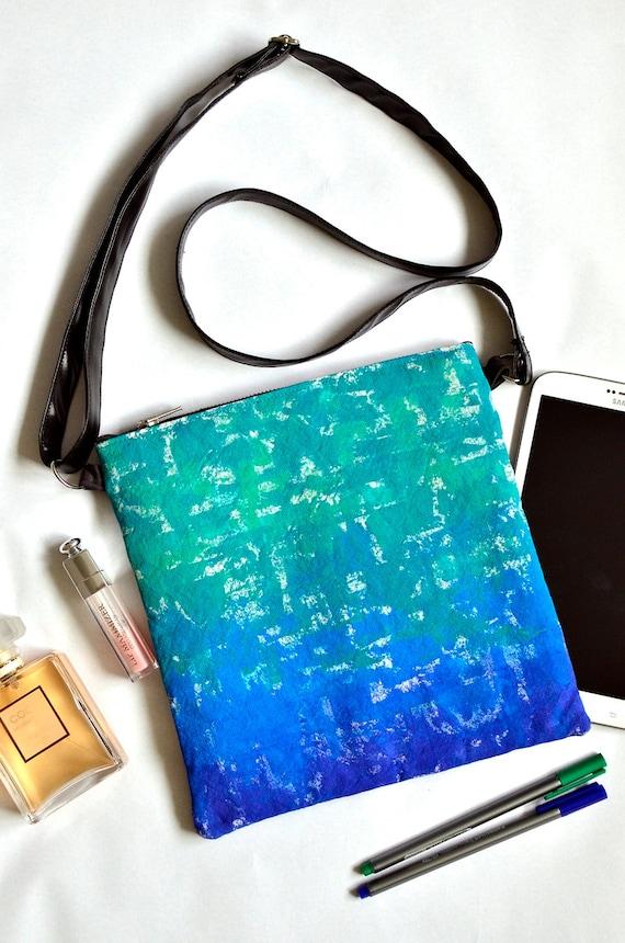 Hand painted handbag, Statement bag, Cross body bag, Blue green turquoise bag, Wearable art, Easter gift for her, Canvas crossbody bag