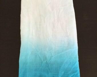 Aqua Dip Dye Kitchen Towel