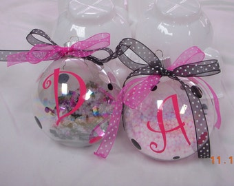 Personalized Christmas Ornaments, Made to order, various colors and styles, plastic