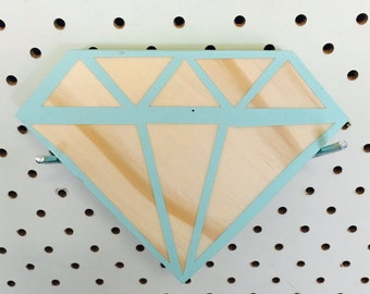 Wooden Diamond Nursery Shelf Decor