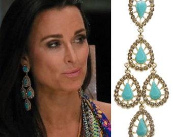 Green Gold Tone Chandelier Earrings as seen on Kyle Richards