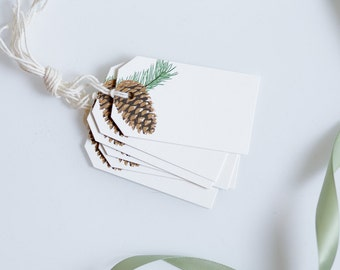 Winter Hanging Tag - Woodland Pinecone Gift Tag - Holiday Packaging - Food Labels