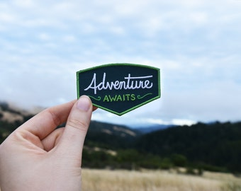 Adventure Awaits Patch - Iron on Explorer Embroidered Badge