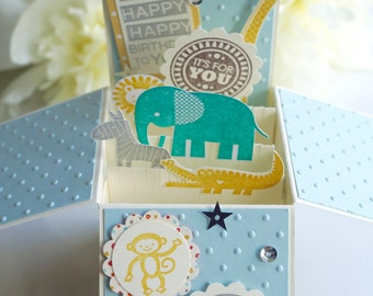 Baby Blue&Brown Birthday Card