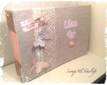 Guestbook lin marriage very romantic 'butterfly' pink powder and gray Pearl