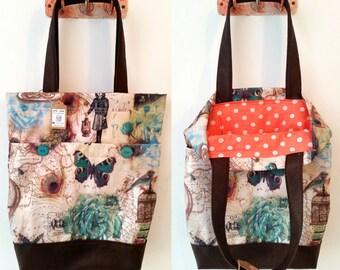 Tote bag, shoulder bag, vegan bag, Handbag, Beach Bag, summer bag, Everyday bag, canvas handbag, canvas tote, colorful tote, retro handbag