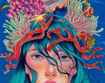 "Mermaid art print , Fine Art print ,""Colorful mind"" limited edition , archival print , pop surrealism art"