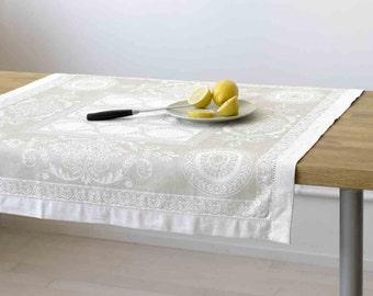 White Jacquard Small Tablecloth or Luxurious Bath Towel - 50/50 Linen Cotton Blend
