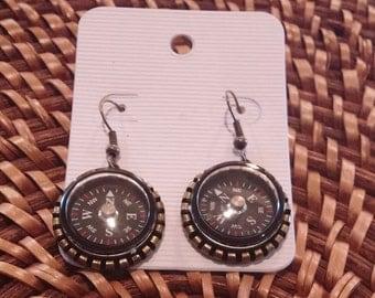 Natural Brass Compass Earrings