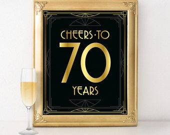 Birthday party decor - Cheers to 70 years birthday sign. 70th birthday poster, Great Gatsby roaring 20s party supplies, art deco style