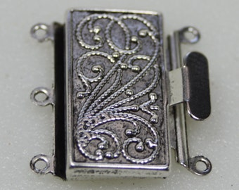 Antique Silver Box Clasp, 3 Strand, Vintage Style