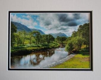Mountain, Tree, River scene (8x10), County Mayo, Ireland