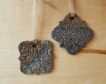 Set of 2 Elegant Christmas Ornaments, Pottery Ornament, Ceramic Ornament, Gift Tag, Gift Exchange, Ornament Exchange,Handmade Ornament 82,83
