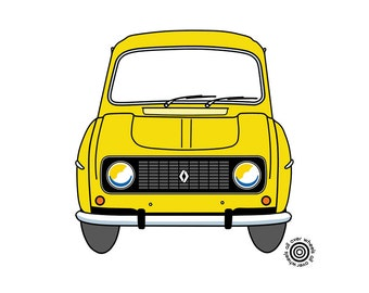 RENAULT 4L T-SHIRT 1970s-80s 3rd type grille Vintage Renault 4L 4GTL printed on 100% cotton t-shirts Original art by WheelsAllOver