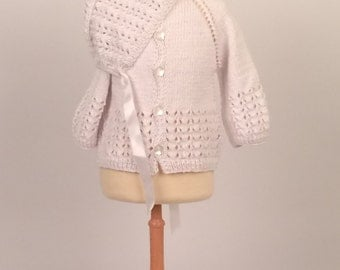 Birth, jacket and hat gift set, size 1-3 m, hand-knitted