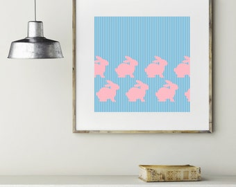 "Modern Wall Art, Abstract Print, Bunny Art, Rabbit Art, Full House Art, Uncle Jesse Art, Blue Art, Pink Art ""Uncle Jesse Pink Bunnies"""