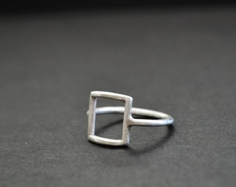 Sqaure Ring Sterling Silver 925 Matte Finish Pyramid Geometric