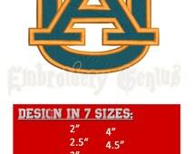AUBURN Embroidery Football Design (7 sizes) NFL BAMA University ncaa League Super Bowl Alabama Letter A U