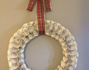 Handmade Romance Novel Rose Wreath