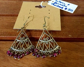 Thai silver and garnet chandelier earrings