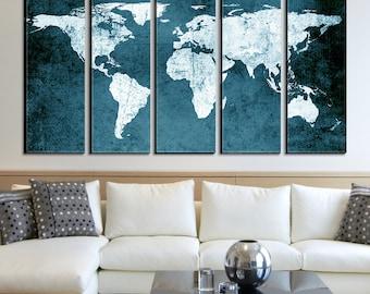 World map on canvas adriftskateshop world map canvas etsy updated gumiabroncs Choice Image