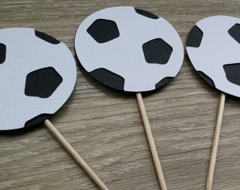 Soccer ball cupcake toppers,  12 soccer birthday cucpake toppers, Soccer Party, Soccer Decoration, sports party, football party