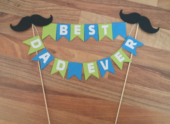 Fathers Day Cake Bunting Fathers Day Decoration Blue and
