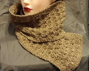 Beige Silk Wool Blend Scarf