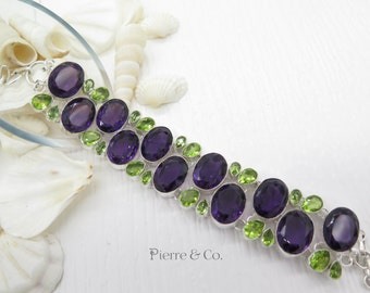 Amethyst and Peridot Sterling Silver Bracelet