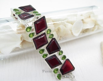 Faceted Garnet and Peridot Sterling Silver Bracelet
