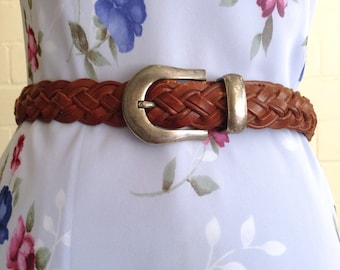 Vintage thin brown braided leather belt / silver buckle