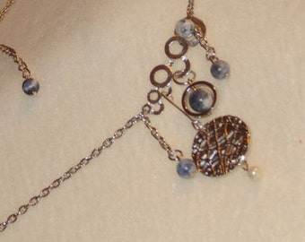 Blue Sodalite and small Pearl Necklace long single piece # 511-15