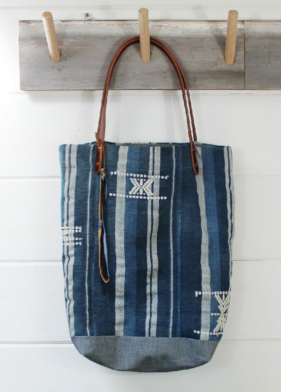 Stripe Indigo Mud Cloth Tote