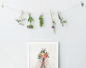 Wild + free print - Teepee art print - Bohemian nursery - Printable boho art - floral teepee print - Boho posters - Printable nursery