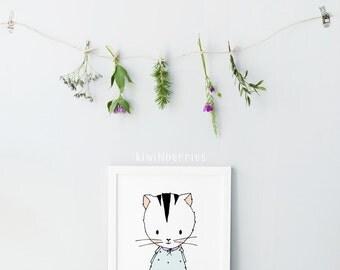 Cat illustration print - Nursery art - Hand drawn nursery art - Cute Cat print - Nursery decor - Girls room decor - Baby shower gift - Mint