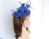 New Kentucky Derby, Church, Wedding, Tea Party, Easter Sinamay Fascinator Cocktail Headband 542 ( Royal Blue )