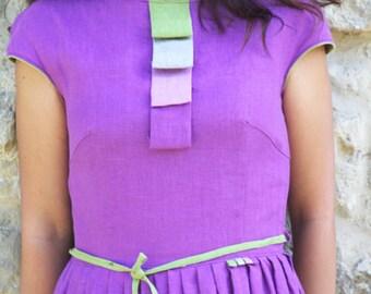 Linen Maxi Dress, Ladies Long Boho Dress, Womens Linen Dress