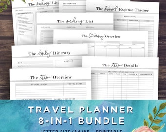 Travel Planner Vacation Planning Bundle - 8 Pages, Packing List, Travel Journal, Expense Tracker, Trip Itinerary, A5, A4, Letter, Printable