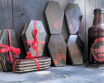 Blood Splatter Coffin Coasters, Gory, Bloody, Coffin, Coasters, Gothic, Horror, Gothic Decor, Horror Decor