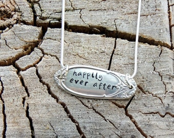 Happily Ever After / Fairy Tale / Happy Ending / pendant necklace / Wedding / Bridal / Anniversary / silverware jewelry / lovers / Impress