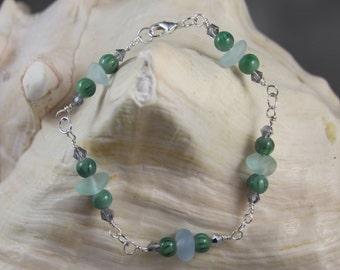 "1511B2 Sea Glass and Bead 8""Bracelet Sale  Priced!"