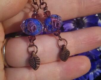 Copper Crystal Roses Earrings