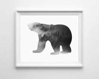 Bear Wall Art black bear decor | etsy