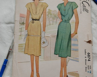 Vintage McCall 6874, 1940's women's sewing pattern