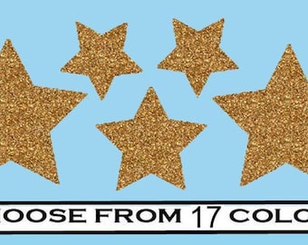5 Stars- vinyl Iron On Decal transfers- Choose your Color- Glitter or Matte