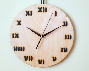 Minimal designed wood wall clock - Stitched - String Art - Home decor - Roman numerals - Modern - Unique - Lines