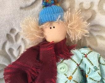 Handmade Art Rag doll, raggedy doll, folk art doll, home decor, handmade raggedy doll, Primitive decor, Softie, Primitive folk art rag doll,