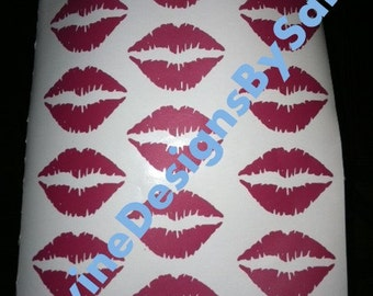 14 Realistic Look Vinyl Kiss Lips Decals In Your Choice Of Color - Ships FREE!