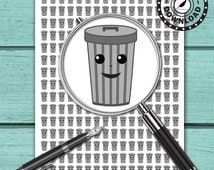 240 Kawaii Trash Can Planner Stickers | Download Planner Stickers | Printable Planner Stickers | INSTANT DOWNLOAD (ni18a)