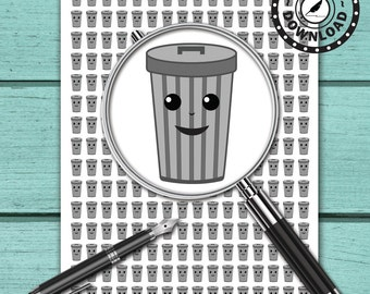 240 Kawaii Trash Can Planner Stickers   Download Planner Stickers   Printable Planner Stickers   INSTANT DOWNLOAD (ni18a)